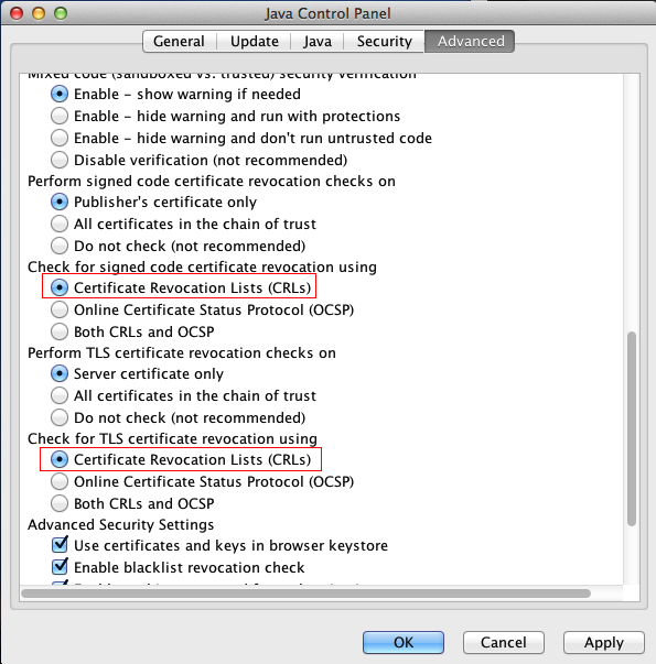 Disable OCSP in Java