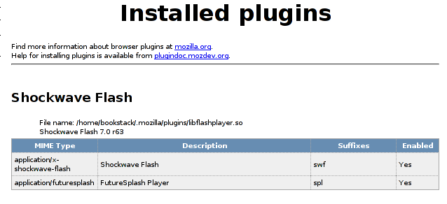 One Flash plugin installed in Firefox with full path exposed