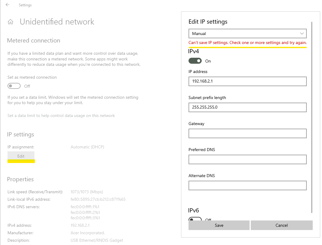 RNDIS network in the Settings