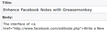 The UI of Write a New Note in Facebook