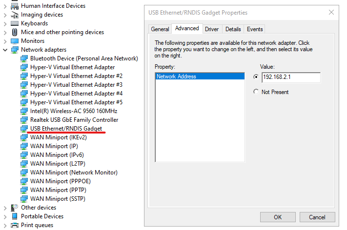 RNDIS device in the Device Manager